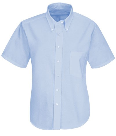 camicia da donna a manica corta botton down colore blu oxford