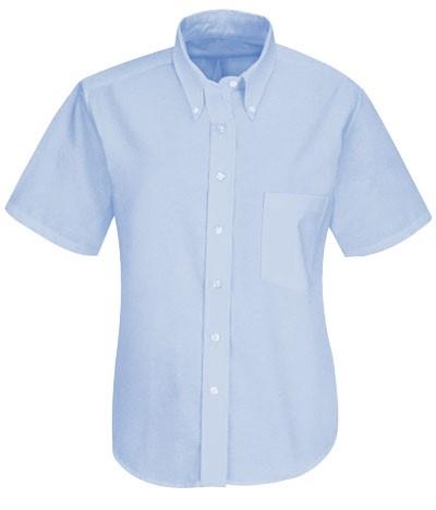 Camicia da donna a manica corta azzurra botton down