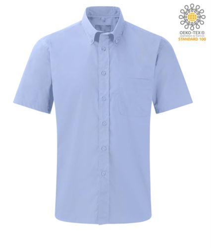 camicia uomo da divisa manica corta azzurra cotone e poliestere