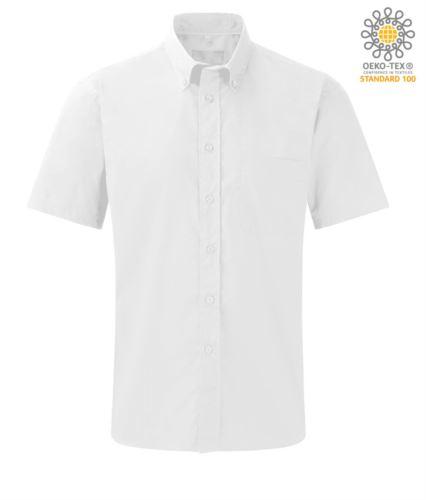 Camicia uomo da divisa lavoro a manica corta colore bianco