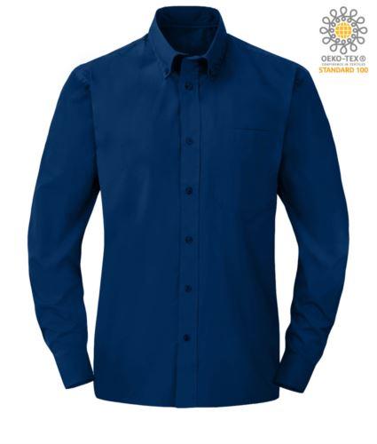 Camicia da divisa elegante colore blu a manica lunga 100% cotone