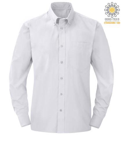 camicia da uomo a manica lunga colore bianco poliestere e cotone