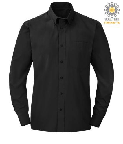 Camicia elegante da uomo colore nero in poliestere e cotone