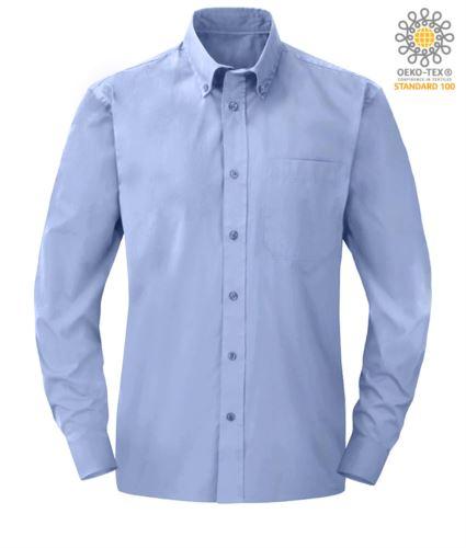 Camicia da lavoro elegante uomo in poliestere e cotone colore blu