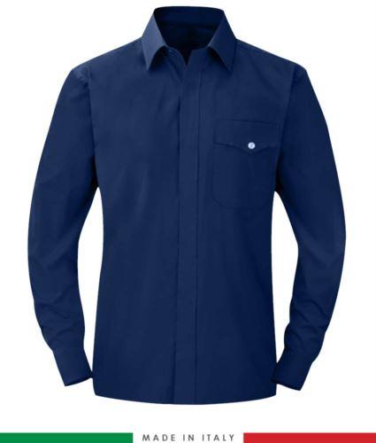 Camicia ignifuga, antistatica, antiacido a manica lunga, taschino sul petto, Made in Italy, certificata EN 1149-5, EN 13034, EN 14116:2008, colore blu navy