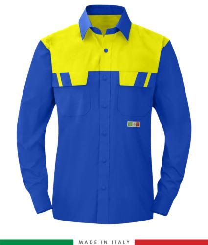 Camicia trivalente bicolore, maniche lunghe, due tasche sul petto, Made in Italy, certificata EN 1149-5, EN 13034, EN 14116:2008, colore azzurro royal/giallo