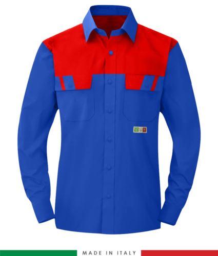 Camicia trivalente bicolore, maniche lunghe, due tasche sul petto, Made in Italy, certificata EN 1149-5, EN 13034, EN 14116:2008, colore azzurro royal/rosso