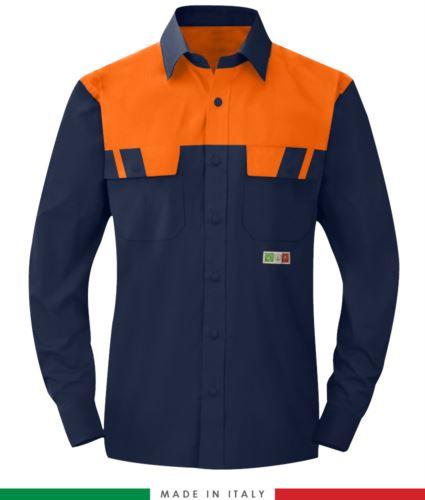 Camicia trivalente bicolore, maniche lunghe, due tasche sul petto, Made in Italy, certificata EN 1149-5, EN 13034, EN 14116:2008, colore blu navy/arancione