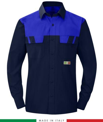 Camicia trivalente bicolore, maniche lunghe, due tasche sul petto, Made in Italy, certificata EN 1149-5, EN 13034, EN 14116:2008, colore blu navy/azzurro royal