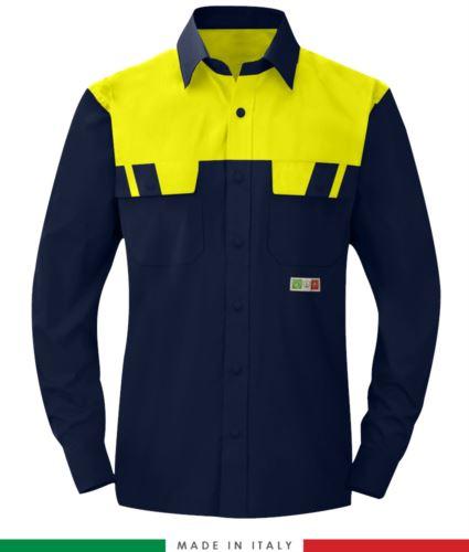 Camicia trivalente bicolore, maniche lunghe, due tasche sul petto, Made in Italy, certificata EN 1149-5, EN 13034, EN 14116:2008, colore blu navy/giallo