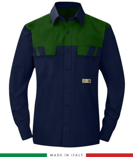 Camicia trivalente bicolore, maniche lunghe, due tasche sul petto, Made in Italy, certificata EN 1149-5, EN 13034, EN 14116:2008, colore blu navy/verde