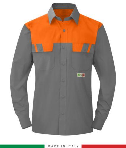 Camicia trivalente bicolore, maniche lunghe, due tasche sul petto, Made in Italy, certificata EN 1149-5, EN 13034, EN 14116:2008, colore grigio/arancione