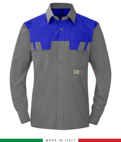 Camicia trivalente bicolore, maniche lunghe, due tasche sul petto, Made in Italy, certificata EN 1149-5, EN 13034, EN 14116:2008, colore grigio/azzurro royal