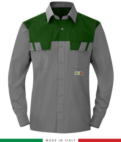 Camicia trivalente bicolore, maniche lunghe, due tasche sul petto, Made in Italy, certificata EN 1149-5, EN 13034, EN 14116:2008, colore grigio/verde
