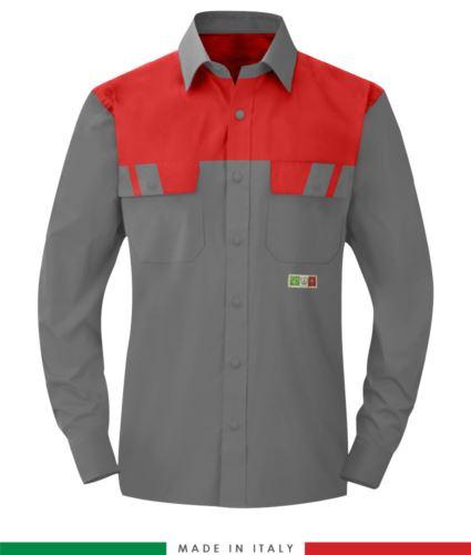 Camicia trivalente bicolore, maniche lunghe, due tasche sul petto, Made in Italy, certificata EN 1149-5, EN 13034, EN 14116:2008, colore grigio/rosso