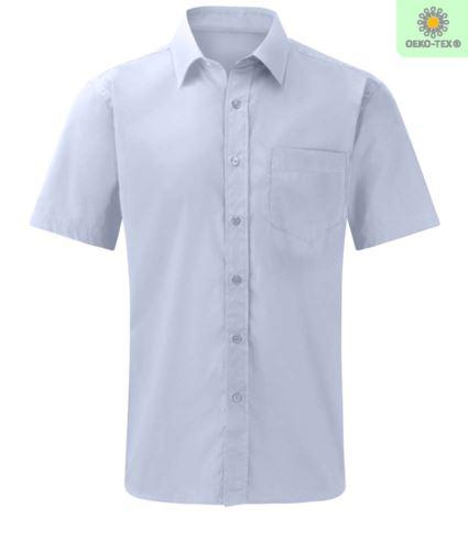 Camicia blu da uomo manica corta per divisa da lavoro