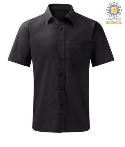 Camicia da divisa manica corta colore nero 100% cotone