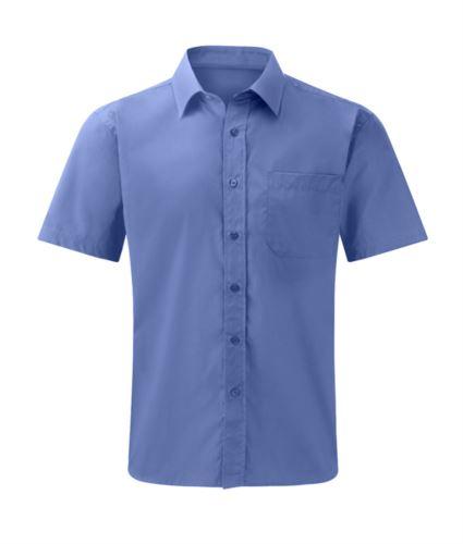 Camicia da uomo manica corta colore blu 100% cotone