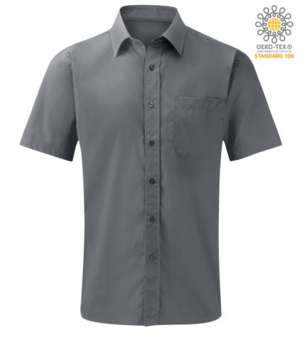 camicia da uomo a manica corta poliestere e cotone colore silver