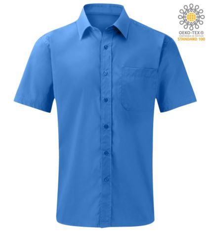 Camicia da uomo a manica corta poliestere e cotone colore azzurro chiaro