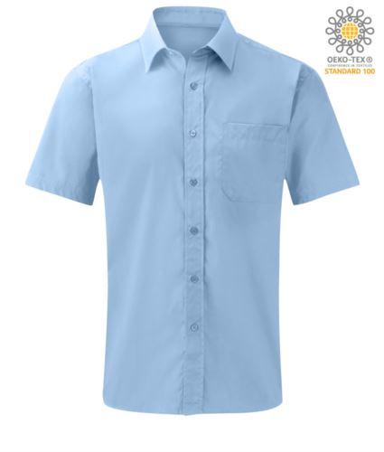 camicia da lavoro uomo manica corta colore Bright Sky poliestere e cotone