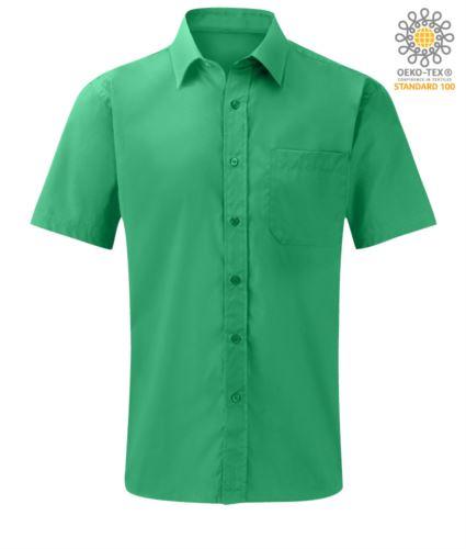 Camicia da lavoro a mancia corta colore verde in cotone e poliestere