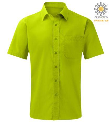 Camicia lilla a manica corta per uso lavorativo poliestere e cotone