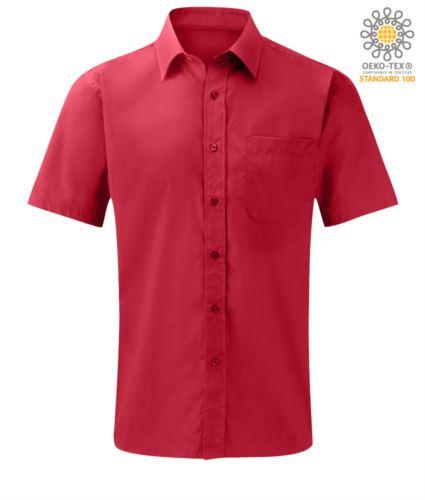 Camicia rossa a manica corta poliestrere e cotone personalizzabile con logo