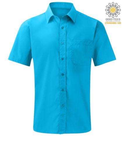 Camicia colore turchese in poliestere e cotone capo personalizzabile