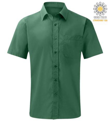Camicia da lavoro in cotone e poliestere con collo alla francese