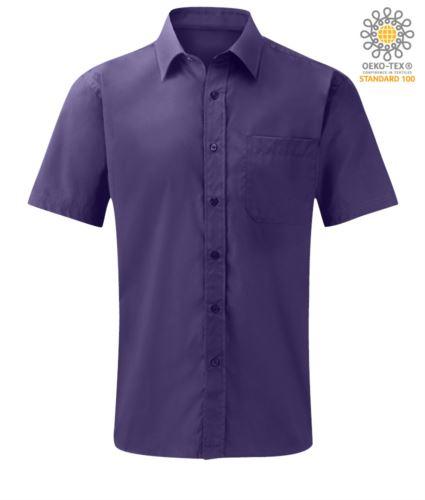 Camicia da lavoro colore viola a manica corta tessuto poliestere e cotone