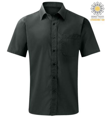 Camicia da lavoro a manica corta colore grigio scuro personalizzabile