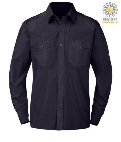 Camicia da uomo a manica lunga colore blu 100% cotone