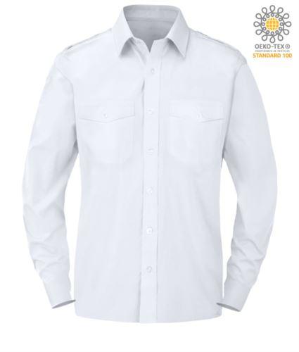 Camicia da uomo a manica lunga 100% cotone colore bianco
