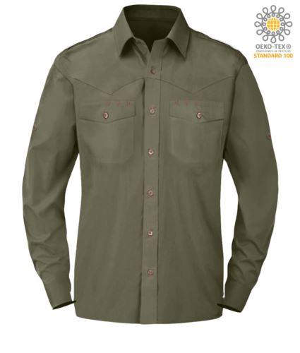 Camicia da uomo elegante a manica lunga colore verde
