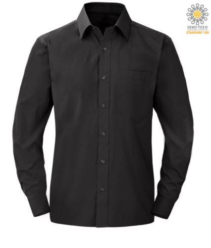 Camicia da uomo a manica lunga per divisa elegante colore nero
