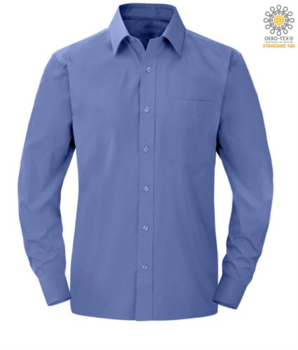 Camicia da uomo a manica lunga per divisa elegante colore blu