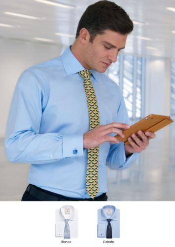 Camicia modello classic fit disponibile nei colori bianco e celeste. Tessuto poliestere e cotone, stiro facile.