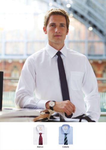 Camicia da uomo per divisa elegante da lavoro. Tessuto 100% in cotone con catatteristica easy iron. Ideale per uniformi di portierato, hotel, receptionist.