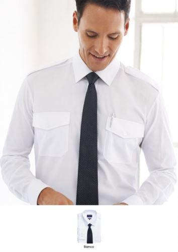 Camicia a manica lunga con doppio polsino per gemelli, 100% cotone, con tessuto stira facile.