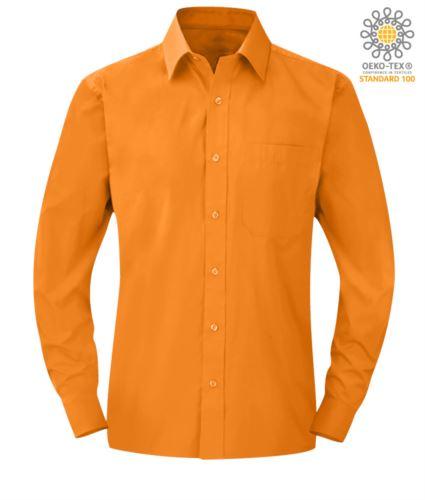 Camicia da uomo a manica lunga colore arancio per uso professionale