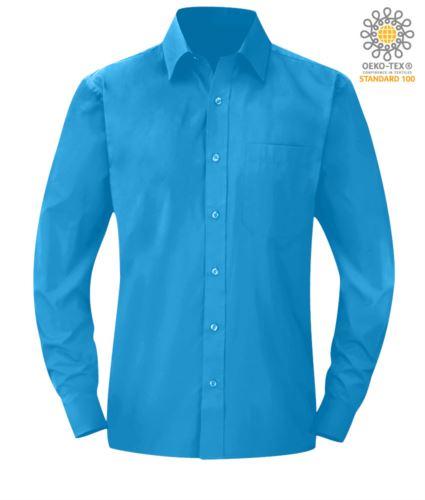 Camicia da divisa da lavoro a manica lunga azzurro chiaro poliestere e cotone