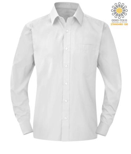 Camicia da divisa da lavoro a manica lunga colore bianco con taschino