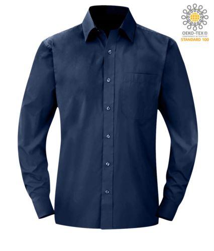 camicia colore blu per uso professionale a manica lunga poliestere e cotone