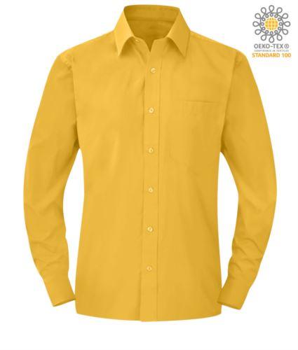 Camicia da lavoro a manica lunga colore giallo da uomo