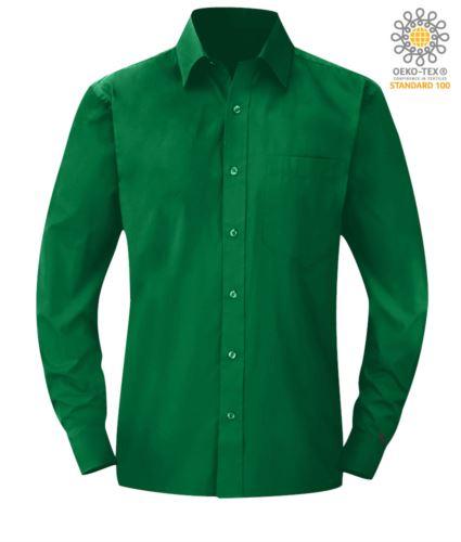 camicia da uomo a manica lunga poliestere e cotone color Kelly Green