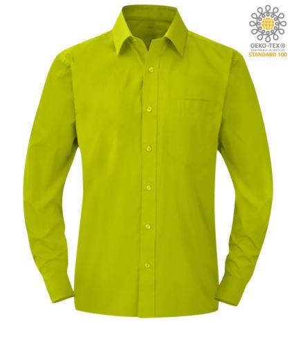 camicia da lavoro a manica lunga per uomo poliestere e cotone color lime