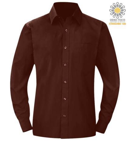 Camicia da uomo a manica lunga colore marrone poliestere e cotone