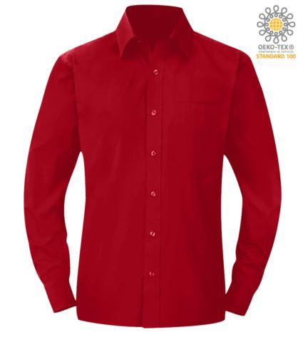 camicia da uomo colore rosso a manica lunga