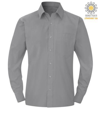 Camicia da uomo a manica lunga colore silverpoliestere e cotone